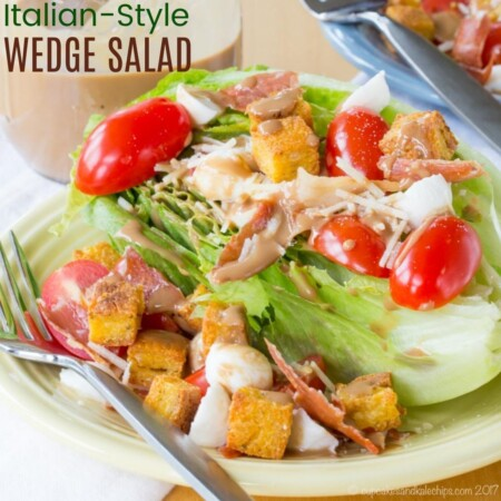 Italian-Style Wedge Salad Recipe square image with title