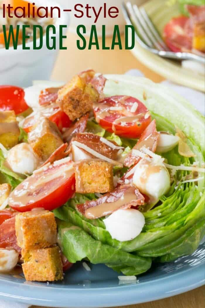 Italian Wedge Salad Recipe Image with title