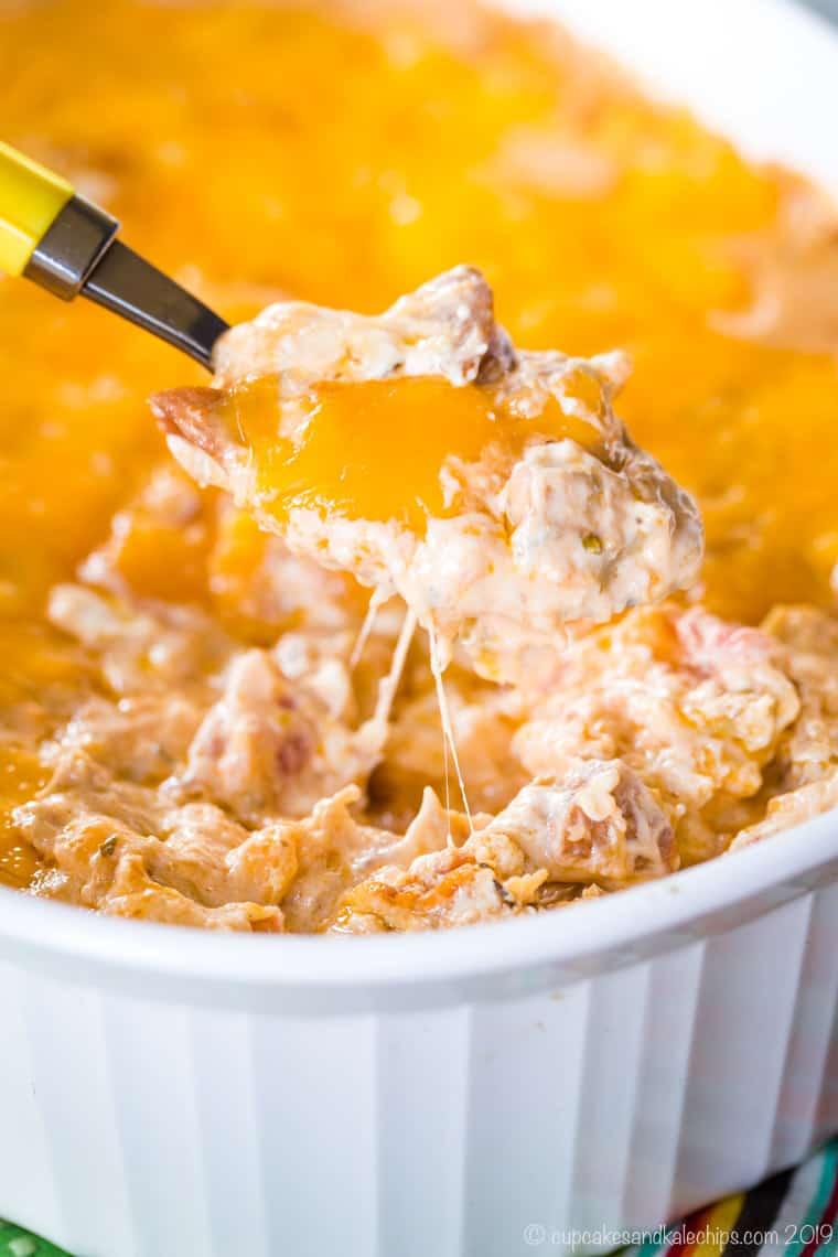 forkful of cheesy hot jambalaya dip