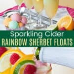 Four rainbow sherbet sparking cider floats on a platter and pouring the cider into one of the champagne flutes