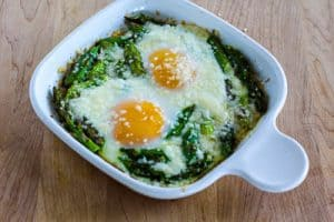 Baked Eggs and Asparagus with Parmesan is a quick-and-easy breakfast idea that can be on the table in about twenty-five minutes. | Kalyn's Kitchen