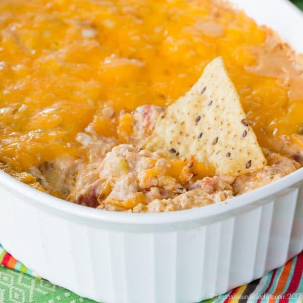 Cheesy Hot Jambalaya Dip - a perfect game day snack or Mardi Gras party appetizer. Dip chips or veggies! Low carb and gluten free.