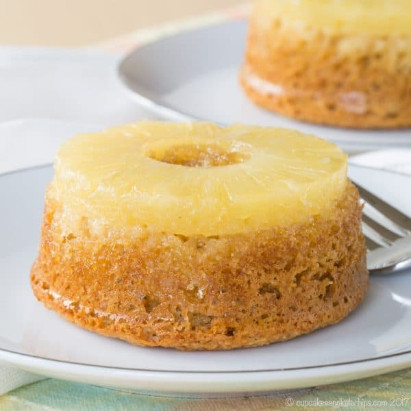 Gluten Free Pineapple Upside Down Cake for Two - an easy recipe to make a pair of little, healthier cakes to share!
