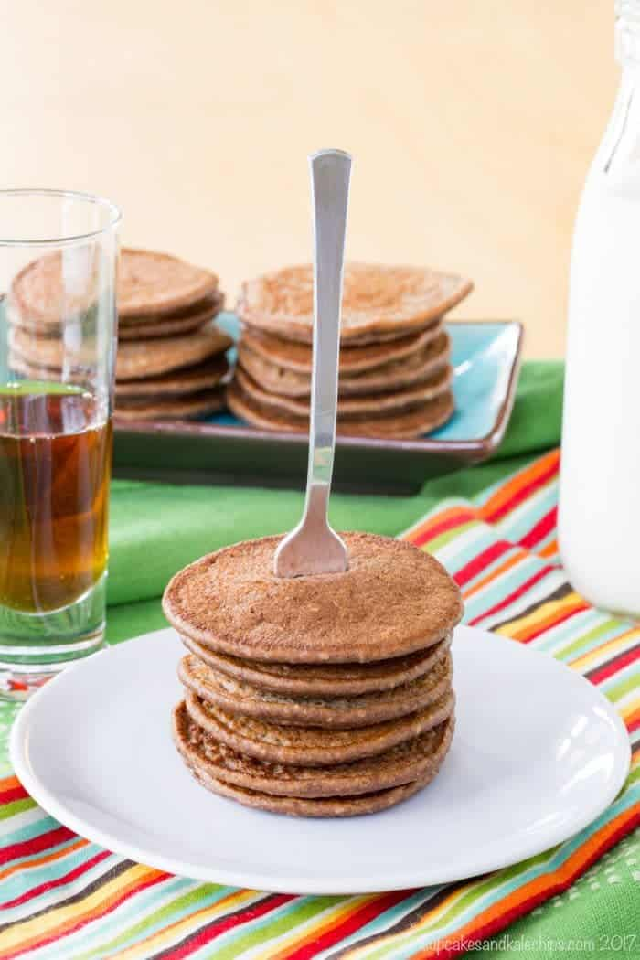 Stacks of mini chocolate banana oatmeal pancakes