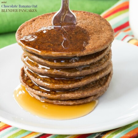Mini Chocolate Banana Oat Blender Pancakes