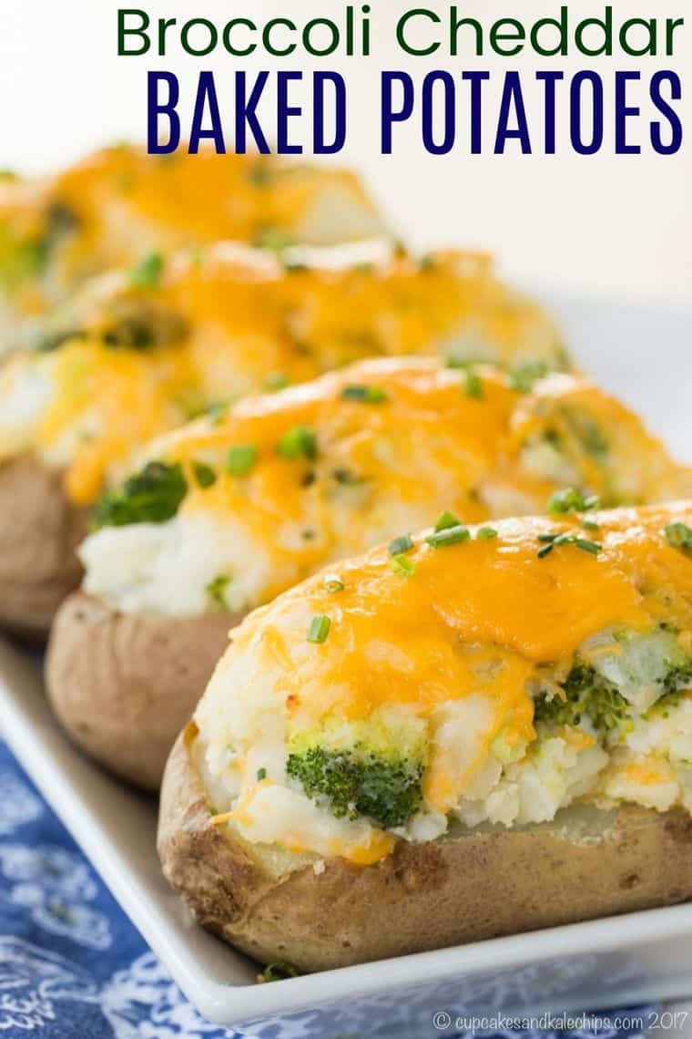 Broccoli Cheddar Baked Potatoes recipe image with title