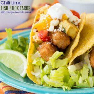 Chili Lime Fish Stick Tacos with Mango Avocado Salsa