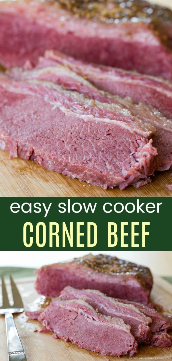 Easy Slow Cooker Corned Beef - you only need one additional ingredient for this gluten free version of the St. Patrick's Day Irish classic made in your crock pot. #cornedbeef #glutenfree #slowcooker #crockpotrecipes