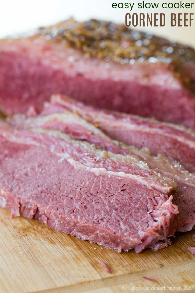 Easy Slow Cooker Corned Beef Recipe with title