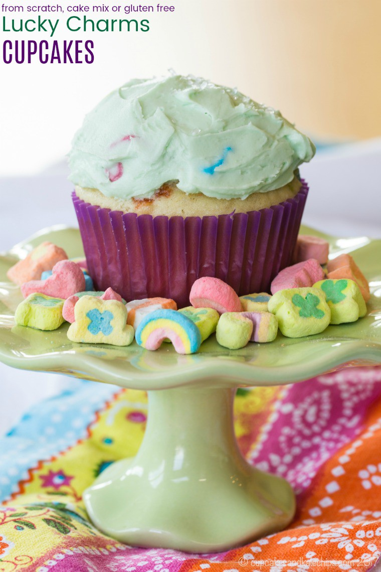 Lucky Charms Cupcakes Recipe with title
