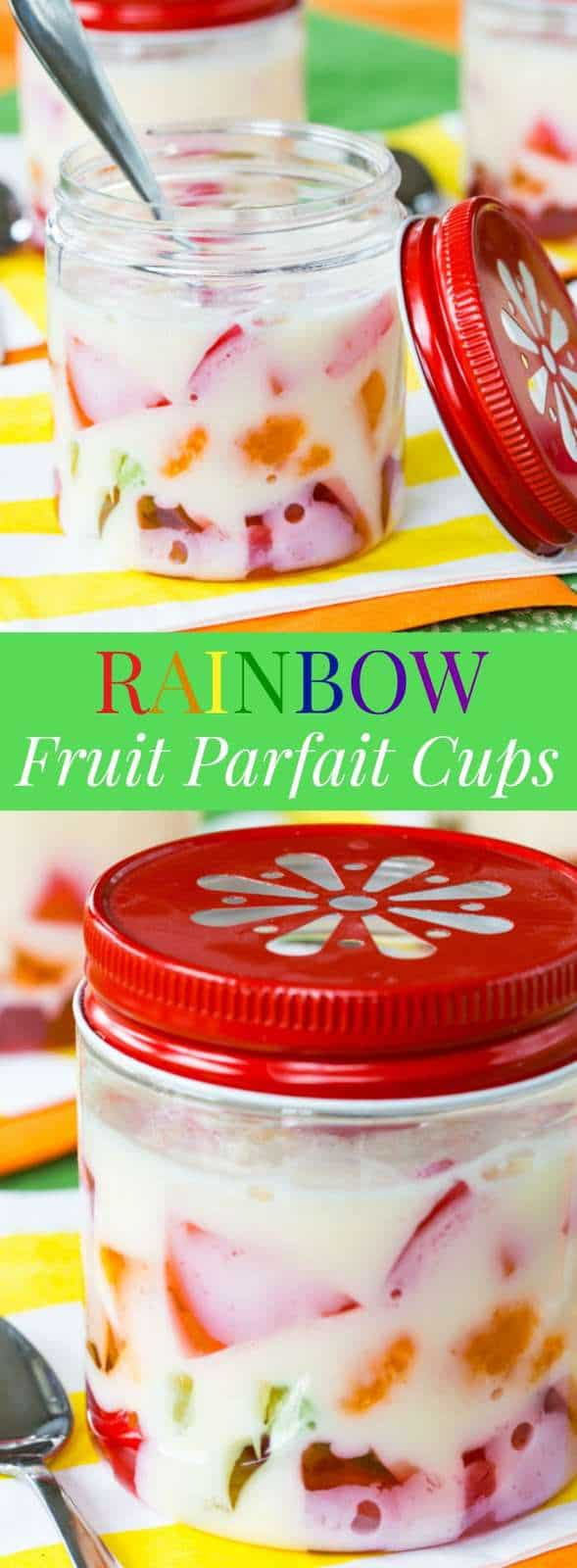 Rainbow Gel Fruit Parfait Cups - a fun treat made easy with @dolesunshine. Perfect for St. Patrick's Day, Easter, birthday, and spring! #ad