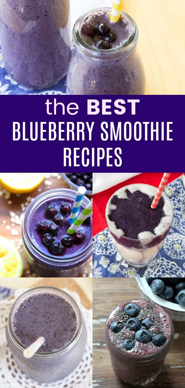 Over 20 of The Best Blueberry Smoothie Recipes - pick up a bag of frozen blueberries or pull out some that you saved from summer's bumper crop to make one of these blueberry smoothies for breakfast or a healthy snack. #cupcakesandkalechips #smoothie #smoothies #blueberry #blueberryrecipes #blueberrysmoothie #glutenfree #healthysnack #snackrecipes