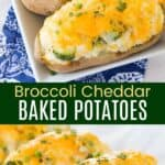 Broccoli Cheddar Baked Potatoes Pinterest Collage