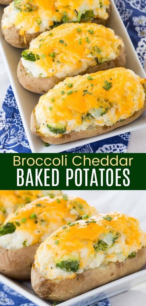 Broccoli Cheddar Baked Potatoes - these stuffed twice baked potatoes are sure to be a family favorite side dish.