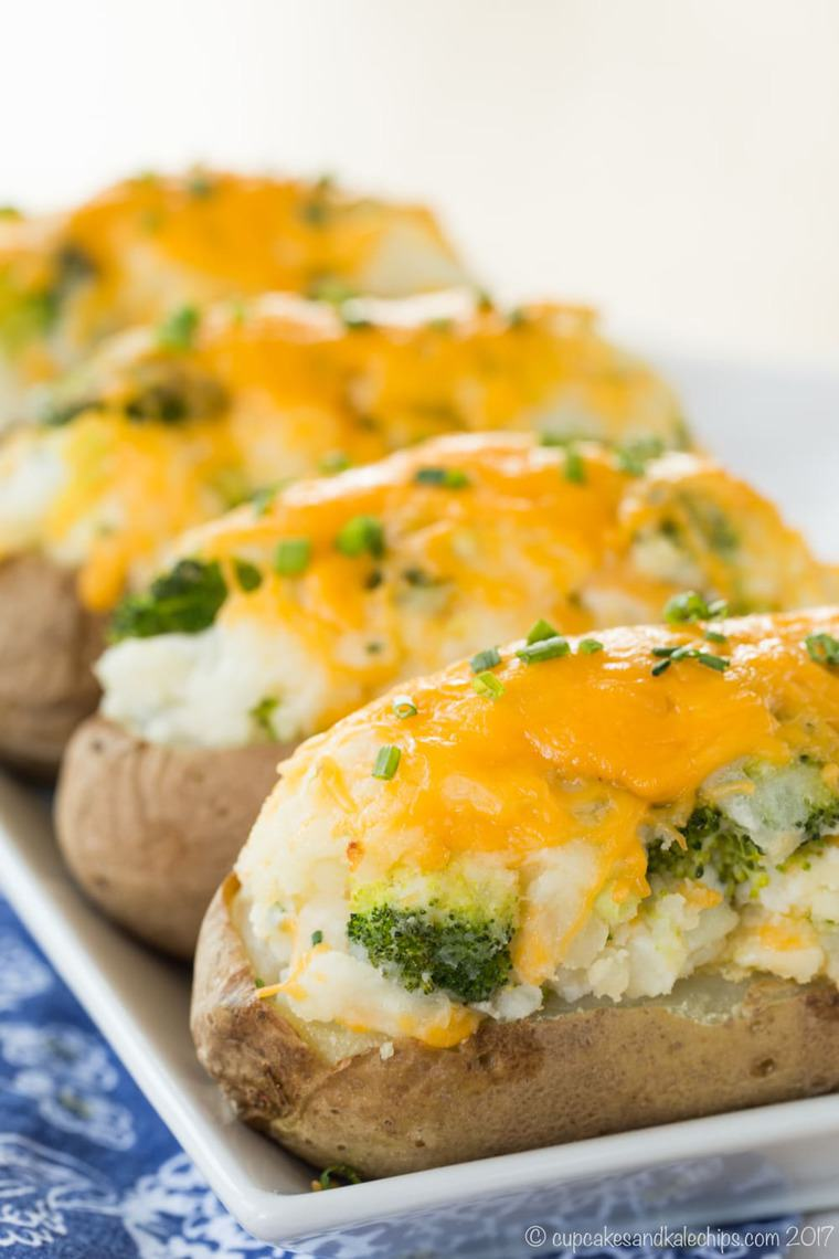 Broccoli Cheddar Baked Potatoes Cupcakes Amp Kale Chips