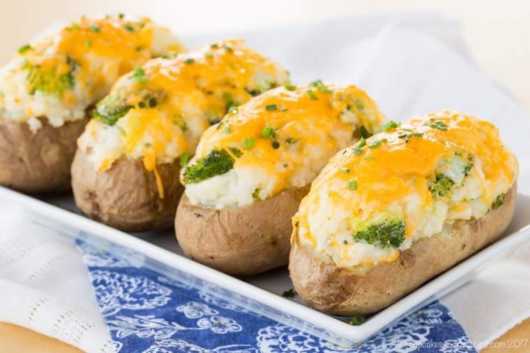 Broccoli Cheddar Twice Baked Potatoes Recipe Cupcakes Amp Kale Chips
