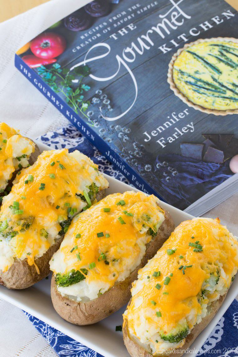 Broccoli Cheddar Baked Potato recipe from The Gourmet Kitchen Cookbook shown in the photo