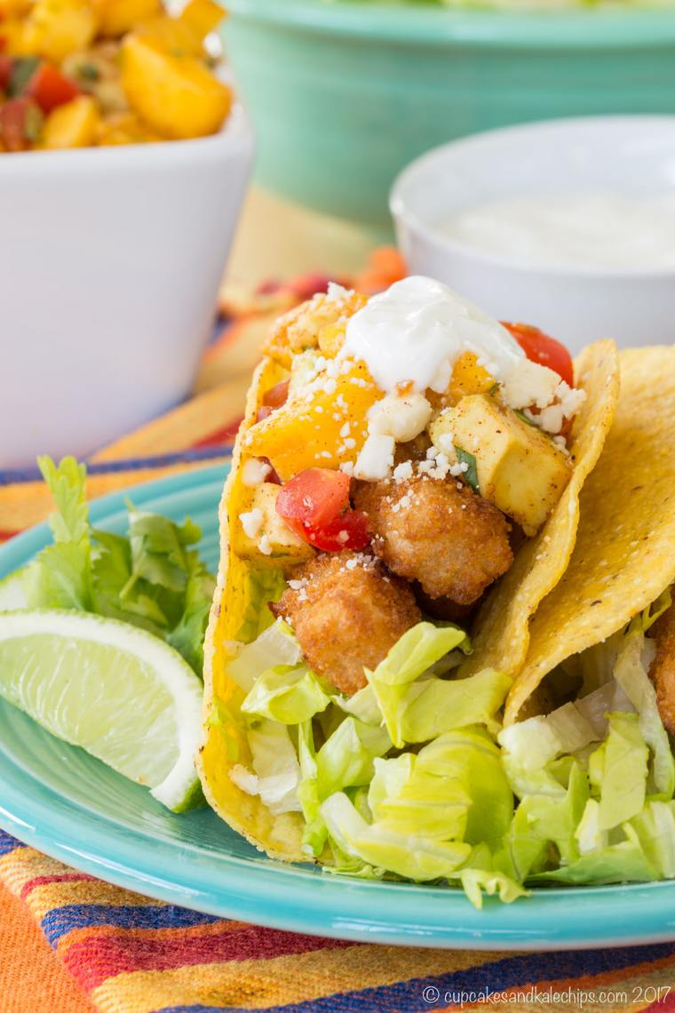 Chili Lime Fish Stick Tacos on a green plate