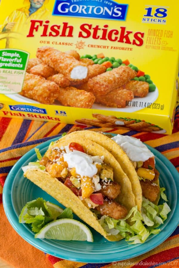 Chili Lime Fish Tacos made with fish sticks