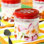 Rainbow Gel Fruit Parfait Cups - a fun treat made easy with @dolesunshine. Perfect for St. Patrick's Day, Easter, birthday, and spring!