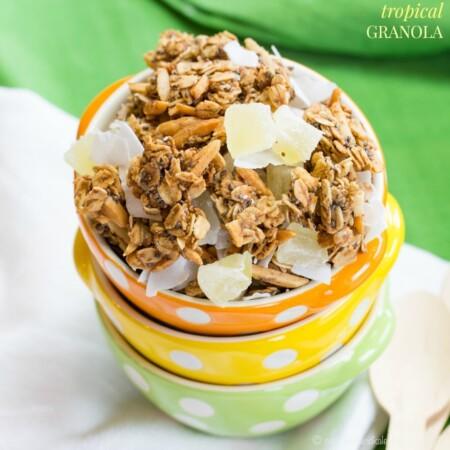 Pineapple Coconut Tropical Granola {vegan, dairy-free, gluten-free}