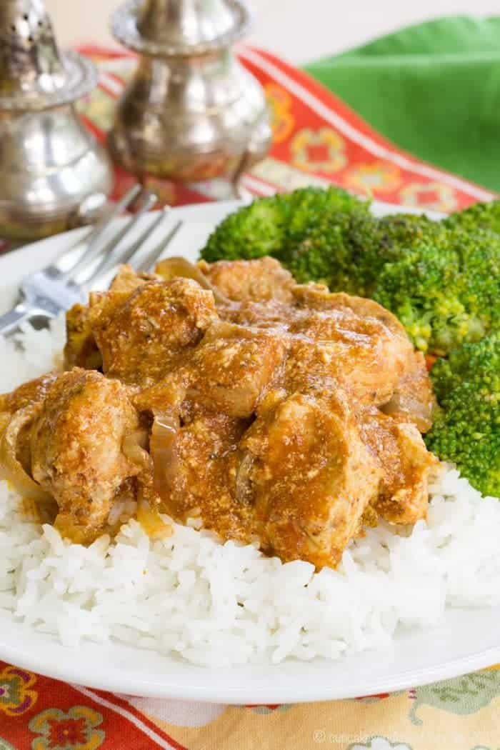 plate of healthier Indian butter chicken