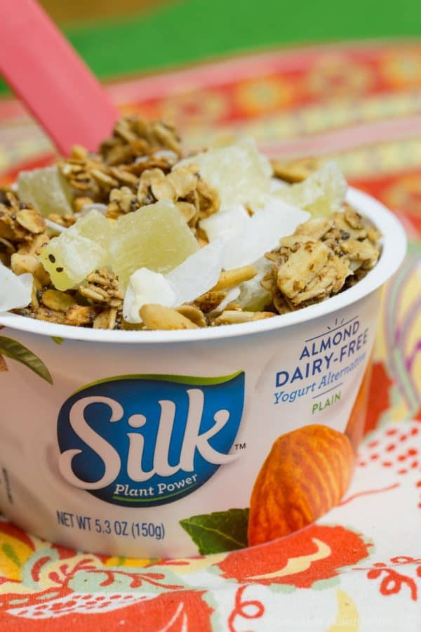 Pineapple Coconut Tropical Granola - a simple sweet breakfast or snack. Can be made gluten-free, dairy-free, and vegan, then use it to top @LoveMySilk Almond Dairy-Free Yogurt Alternative. #ad