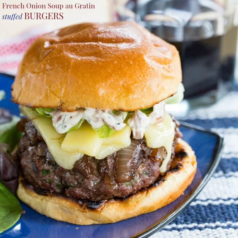 French Onion Soup au Gratin Stuffed Burgers - Cupcakes ...
