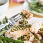 Pesto Salmon with green beans and potatoes