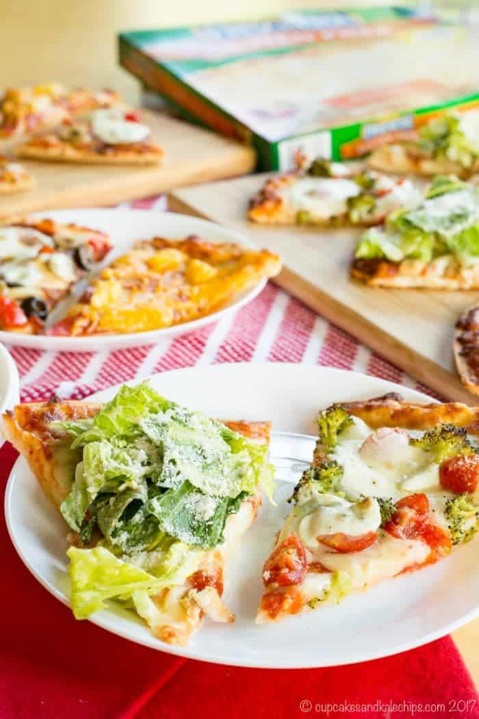 Chicken Caesar Salad Pizza and Broccoli Tomato Pizza Made from Frozen Pizza