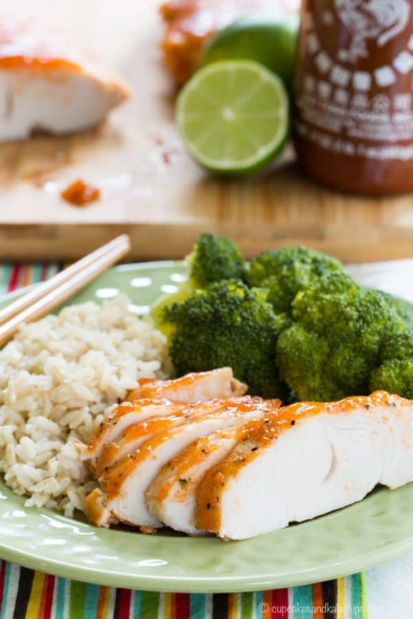 Sriracha Lime Crock Pot Turkey Breast Tenderloin on a plate with rice and broccoli