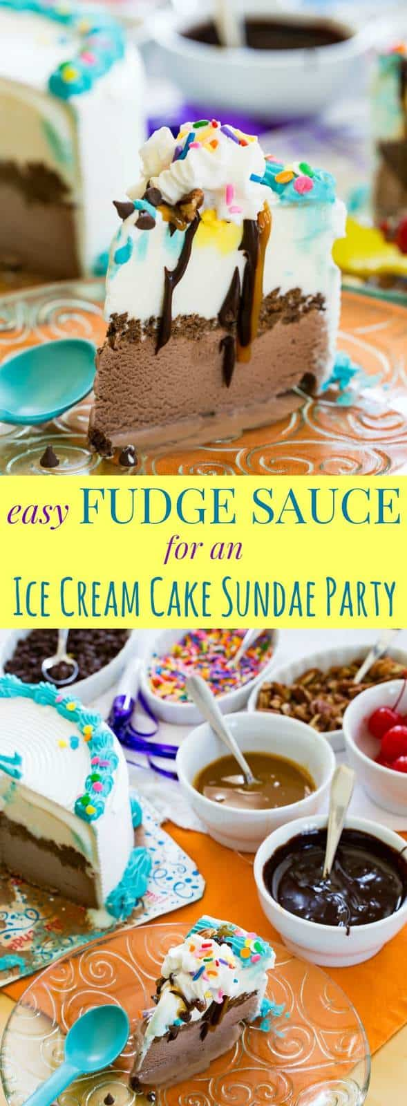 Easy Fudge Sauce Recipe - make this simple chocolate ice cream topping in five minutes with only four ingredients. Then host your own Ice Cream Cake Sundae Party. #AD
