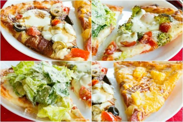 Easy Gluten-Free Family Pizza Night Recipes - turn cheese pizza and pepperoni pizza into Tomato Broccoli Pizza, Chicken Caesar Salad Pizza, Hawaiian Pizza, and Antipasto Pizza, or create your own with your favorite toppings. It's a pizza party for dinner when you customize Freschetta Thin and Crispy Gluten Free Pizza. #AD