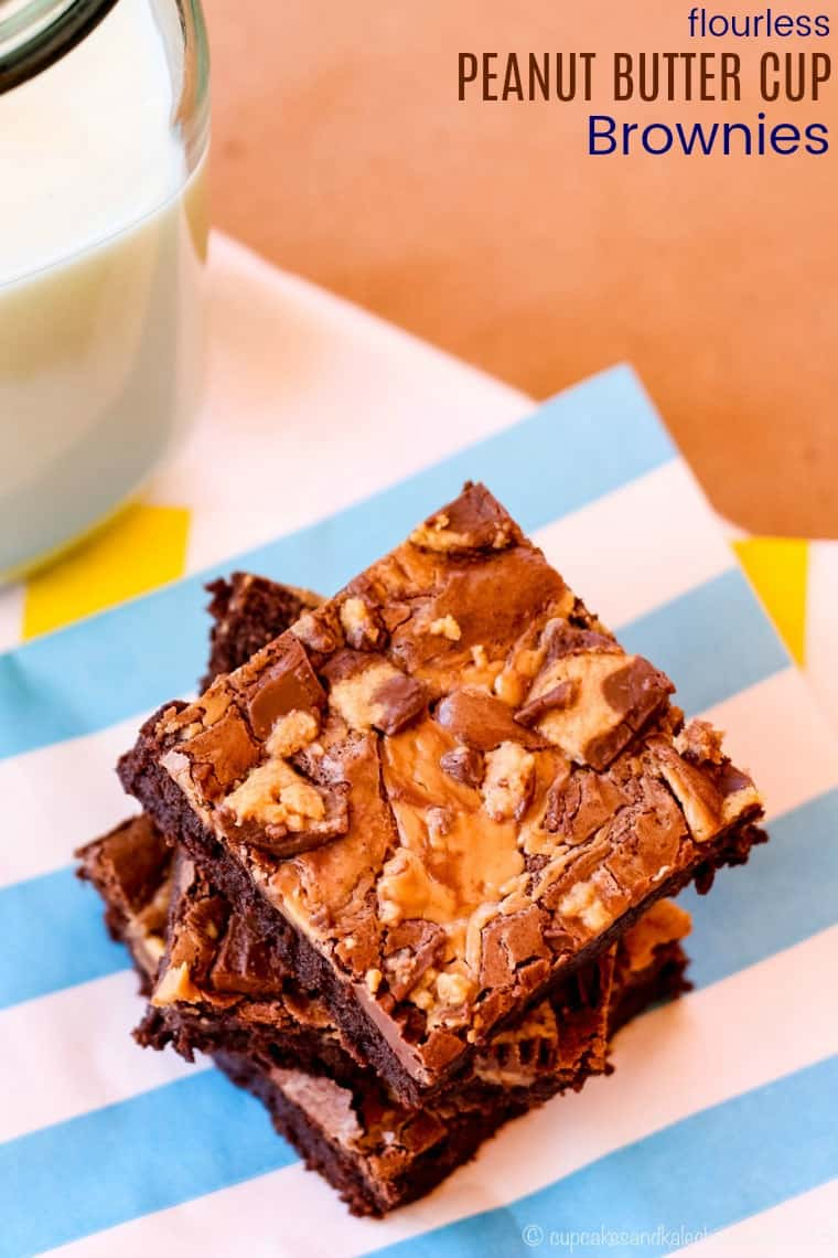Flourless Peanut Butter Cup Brownies Recipe