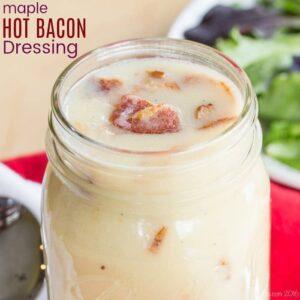 mason jar of Maple Hot Bacon Dressing