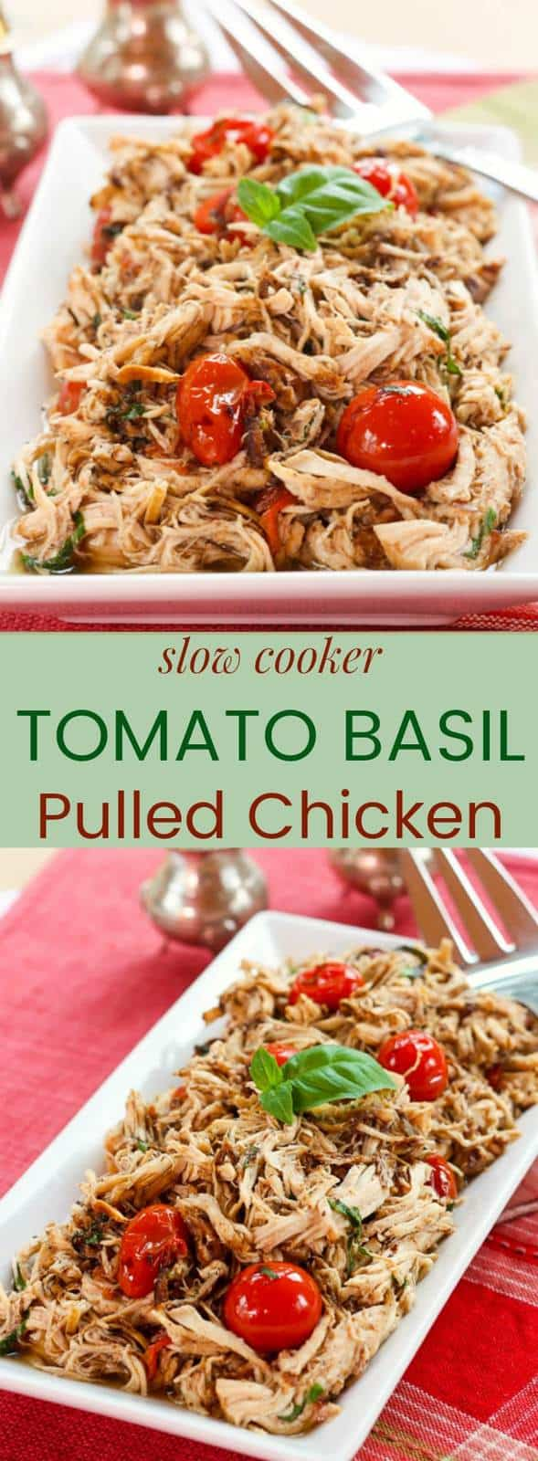Slow Cooker Tomato Basil Pulled Chicken - a healthy and easy chicken dinner recipe from your crockpot. Serve over pasta or rice, or keep it gluten free, low carb, and paleo with cauliflower rice or zoodles. #slowcooker #chickenrecipe #glutenfree #paleo #whole30 #lowcarb #ketogenicdiet #chicken