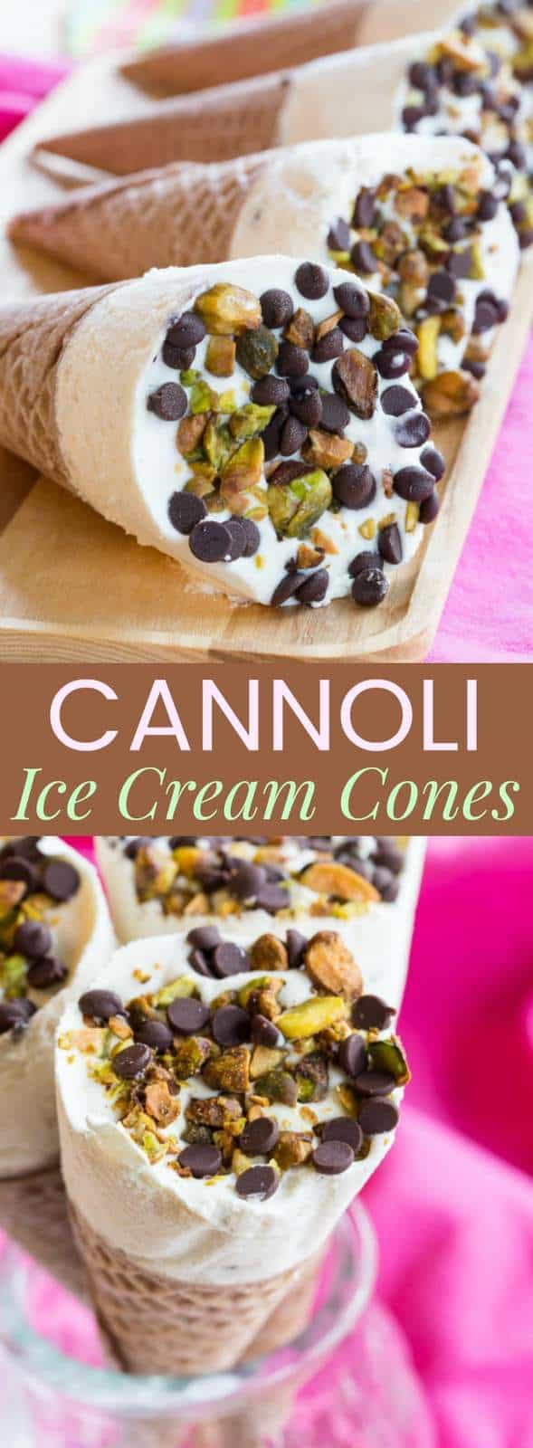 Cannoli Ice Cream Cones - fill sugar cones with a no-churn cannoli ice cream made with ricotta cheese and sprinkle with chocolate chips and pistachios for a fun frozen twist on the classic Italian dessert inspired by Drumsticks cones. You can also use gluten free cones.