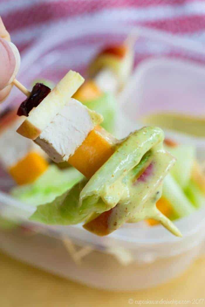 Apple Chicken Salad on a Stick - dunk this easy lunch idea, after school snack, or simple appetizer in Honey Mustard Dip. They're gluten free and made with @horizonorganic. #AD