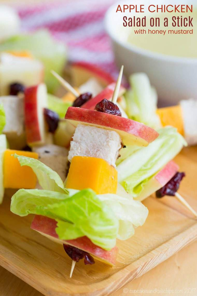 Apple Chicken Salad on a Stick with Honey Mustard Dip Recipe
