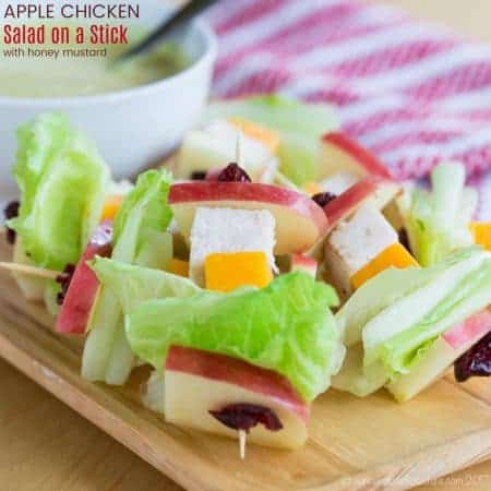 Apple Chicken Salad on a Stick with Honey Mustard Dip