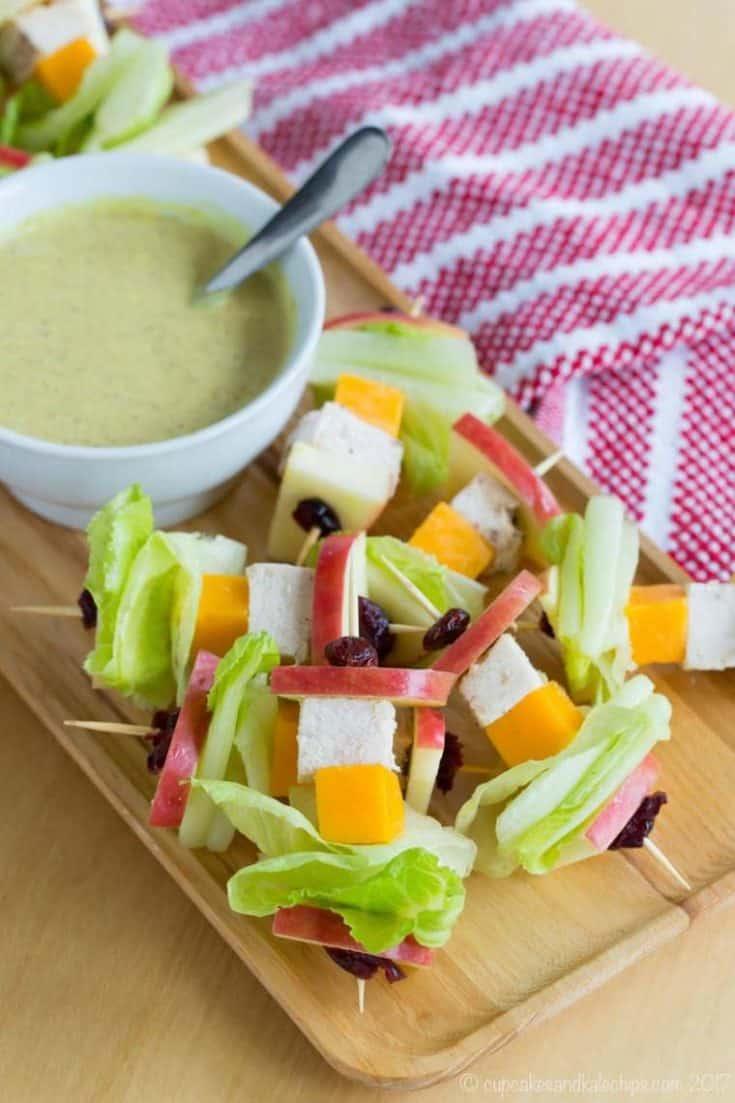 Apple Cheddar Chicken Salad on a Stick with Honey Mustard Dip