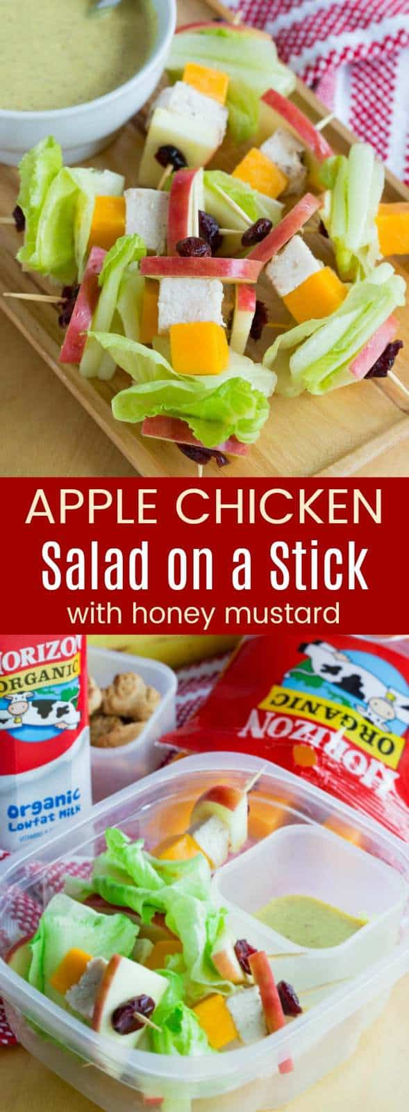 Apple Chicken Salad on a Stick - this easy recipe is a fun lunchbox idea or an after school snack when you dip them in Honey Mustard Dressing. They're also great game day appetizers. This gluten free lunch is made with @horizonorganic. #AD