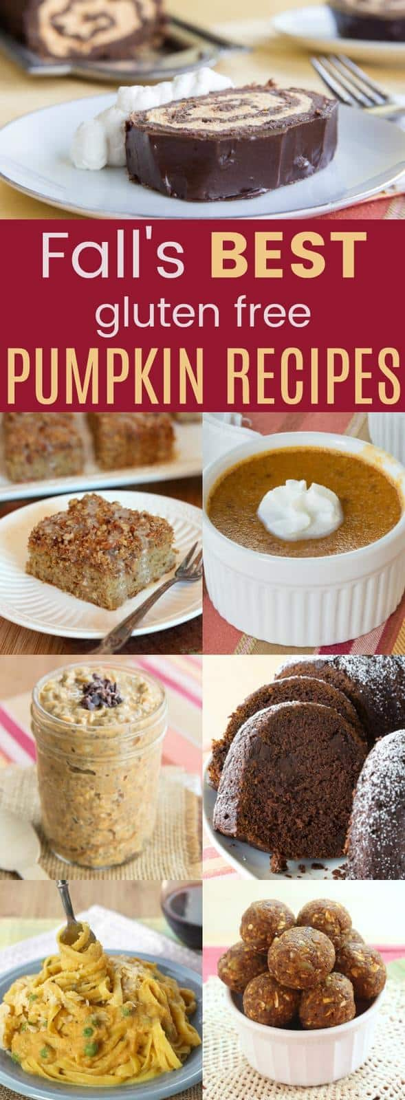 Fall's Best Gluten Free Pumpkin Recipes - there's real pumpkin in each pumpkin recipe for breakfast, dinner, and of course, dessert! Get your pumpkin spice fix for autumn!