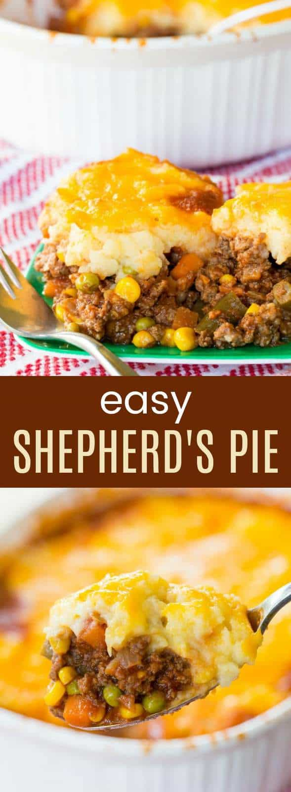 Shepherd's Pie - a easy recipe for the classic meat and vegetable casserole topped with cheesy mashed potatoes. Always a family-favorite comfort food meal, and it's gluten free.
