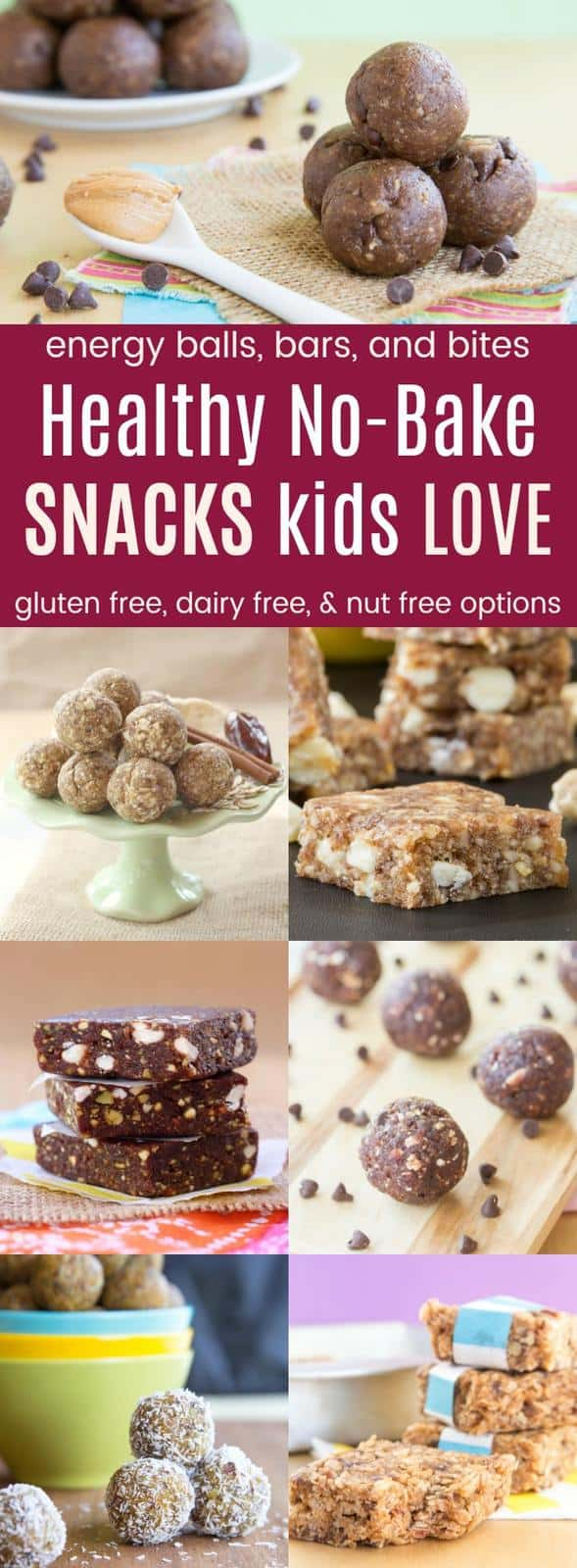 Healthy No-Bake Snacks Kids Love in a collage