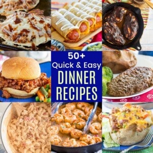 collage of mac and cheese, skillet shrimp, sloppy joes, chicken tostadas, and other easy dinner recipes