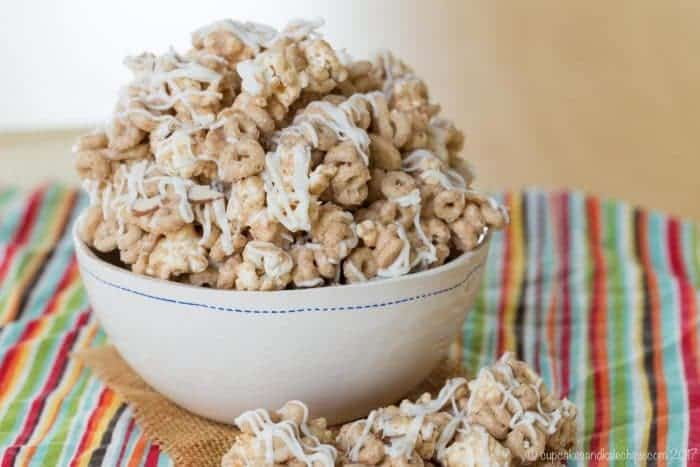 Quick No Bake Desserts like Banana Nut Cheerios White Chocolate Popcorn Snack Mix
