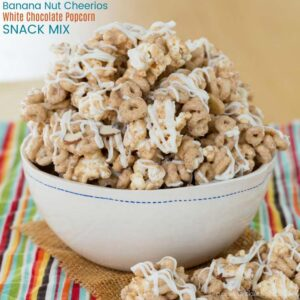 Banana Nut Cheerios White Chocolate Popcorn Snack Mix Recipe from Cupcakes and Kale Chips