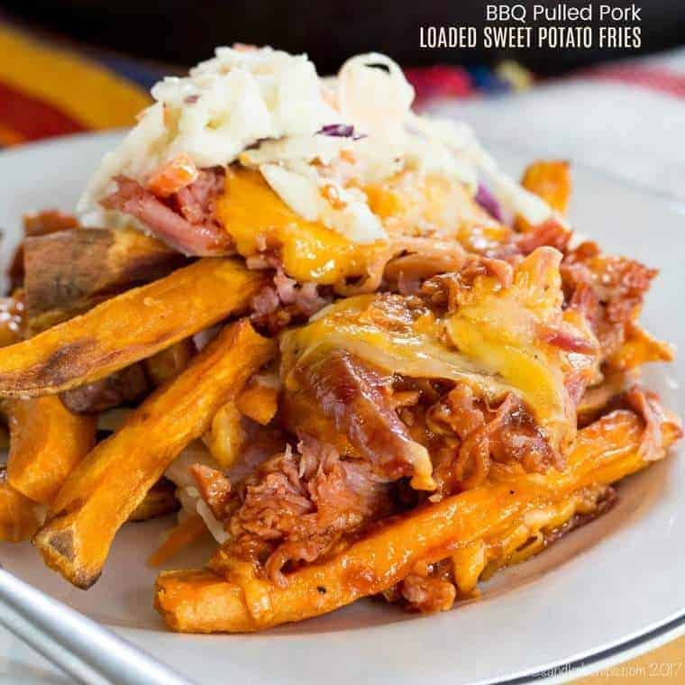 BBQ Pulled Pork Loaded Sweet Potato Fries