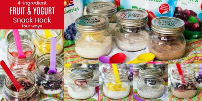 Four-Ingredient Fruit and Yogurt Snack Hack - easy snack recipes made with @dolesunshine and an easy mason jar hack to #SharetheSunshine. #AD